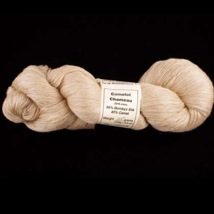 Camelot Chameau - Silk-Blend Yarn (55% Bombyx Silk & 45% Tan Camel) 30/2, lace/thread weight: click to enlarge