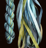 montano series fine cord silk thread and 3.5mm silk ribbon in paua shell