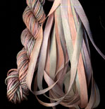 montano series fine cord silk thread and 3.5mm silk ribbon in pussy willow