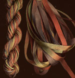 montano series fine cord silk thread and 3.5mm silk ribbon in rose leaf