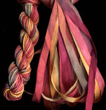 montano series fine cord silk thread and 3.5mm silk ribbon in tangiers