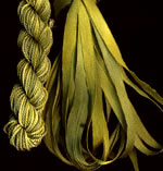 montano series fine cord silk thread and 3.5mm silk ribbon in willow green