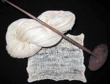 eri silk fibers with spindal