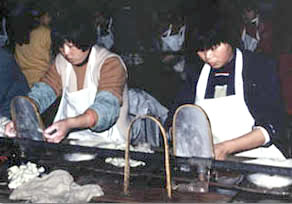 silk caps being made