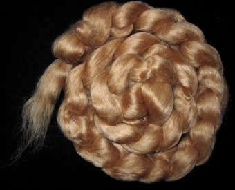 photo of red eri wild silk roving