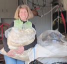 Photo of Susan holding fleece