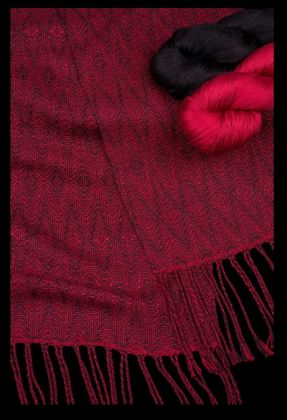 Kit - Weaving - 2 Skeins=2 Scarves; 'Glittering Diamonds' Shadow Weave: click to enlarge