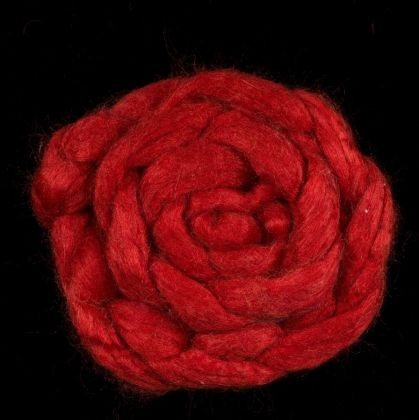 Pomegranate - Hand-dyed Tussah Roving/Sliver 25g: click to enlarge