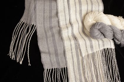 Rigid Heddle Light & Dark Fibonacci Stripes Silk Scarves