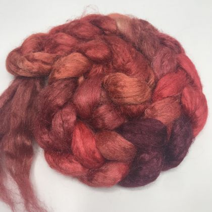 Salt Spring Island Limited Edition 'Yummy Berry' - Tussah Silk Roving/Sliver 25g: click to enlarge