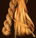 montano series fine cord silk thread and 3.5mm silk ribbon in aztec gold