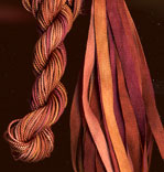 montano series fine cord silk thread and 3.5mm silk ribbon in bark