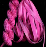 montano series fine cord silk thread and 3.5mm silk ribbon in carnation