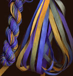 montano series fine cord silk thread and 3.5mm silk ribbon in cozumel