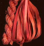 montano series fine cord silk thread and 3.5mm silk ribbon in tiger lily