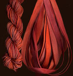 montano series fine cord silk thread and 3.5mm silk ribbon in twig